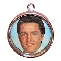 Wells Sterling Silver Charm - Round Photo Holder with Pic of Elvis Presley