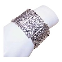 Sterling Silver Wide Filigree Link Bracelet   Victorian Revival Statement Bracelet