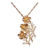18K Gold 1CT TW Canary Diamond White Diamond 'Trio of Flowers' Pendant Pin Combination