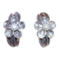 Sterling Silver Cultured Pearl Made in Israel Flower Hoop Earrings