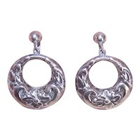 Sterling Silver Hoop Earrings Made in Mexico Mexican - Repousse Flower Design Screwbacks