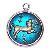 Sterling Silver Lucite Bubble Charm - Zodiac Sign Sagittarius the Archer