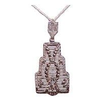 Art Deco 10K Gold Diamond Filigree Lavaliere Drop Pendant