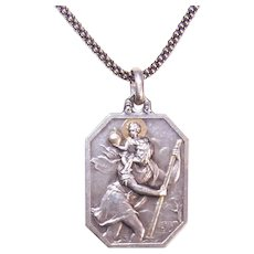 Antique Edwardian French Silver Gold Overlay St Christopher Medal with Auto on Reverse