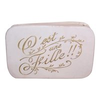 """Antique Edwardian French Paper """"Birth of Baby"""" Gift Box - C'est une Fille"""