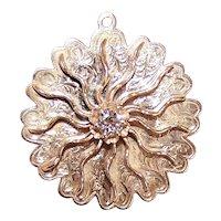 14K Gold .28CT Diamond Starburst Charm - Large Retro Modern 1960s Big & Bold Sunburst