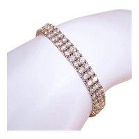 Sterling Silver Vermeil Double Row Cubic Zirconia CZ Tennis Bracelet
