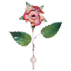 Vintage Made in Italy Italian Tole Cast Iron Coat Hook - Red/Yellow Rose Bud with Leaves