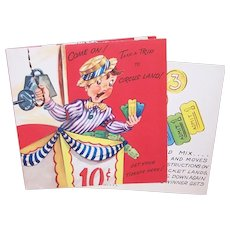 "Unused Circus Land ""Get Well"" Greeting Card for a Child - Play the Circus Game and Time Will Pass as You Recover"