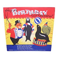Unused 1950s Happy Birthday Card for a Child - Circus Puzzle to Play - Printed in England