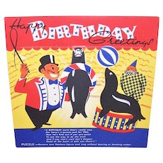 Vintage Unused 1950s Printed in England Happy Birthday Card - Circus Puzzle to Play