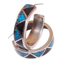 Carolyn Pollack Sterling Silver Turquoise Black Onyx Crushed Inlay Hoop Earrings - Pierced Earrings