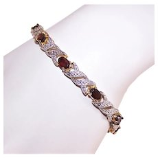 Sterling Silver Vermeil Diamond and Garnet Tennis Bracelet w/Original Tags - Old Store Stock