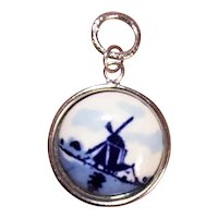 Hoffman Sterling Silver Delft Blue Porcelain Windmill Charm