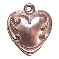 Rose Gold Filled Puffy Heart Charm - Engraved Initials RJP
