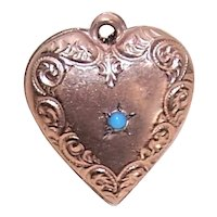 Rose Gold Filled Turquoise Puffy Heart Charm - Engraved Initials ERF