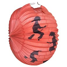 1930s Halloween Made in Germany Unused Accordian Paper Lantern - Witches on Broomsticks