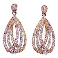 Sterling Silver Vermeil Cubic Zirconia/CZ Teardrop Pierced Earrings - Dramatic Evening Earrings