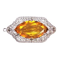 Art Deco Sterling Silver Citrine Glass Paste Filigree Pin Pendant Combo