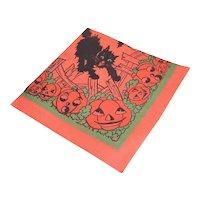 Unused 1960s Halloween Paper Napkin - Black Cat Bats and Lots of Pumpkins