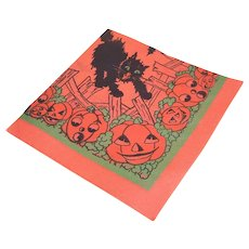 Unused 1960s Halloween Paper Napkin - Black Cat Bats and Lots of Pumpkins