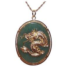Chinese Nephrite Jade Good Luck Dragon Pendant