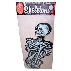 "C.1981 Unopened Mint in Package Set/2 22"" Beistle Jointed Halloween Skeletons"