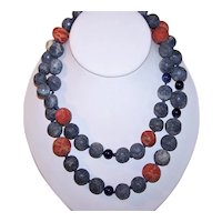 Blue & Red Sponge Coral Bead Necklace - 14K Gold Filled Findings