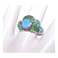 David Freeland Jr Sterling Silver Multi-Colored Lab Created Opal Ring - Lots of Green & Blue Fire