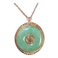 Asian 18K Gold Diamond Green Jade Jadeite Bi Disc Round Pendant