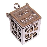 Sterling Silver Mad Money Caged Dollar Bill Money Box Charm