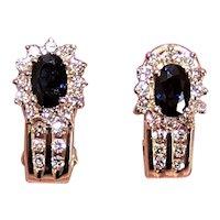 14K Gold 1.85CT TW Diamond Sapphire J Hoop Earrings - Pierced Earrings - Posts with Omega Backs