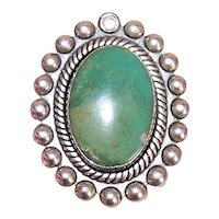 Old Pawn Sterling Silver Green Turquoise Native American Oval Pendant or Charm