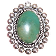 Sterling Silver Green Turquoise Native American Oval Pendant or Charm