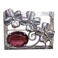 Sterling Silver Purple Rhinestone Paste Floral Pin Brooch