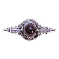 Antique Victorian Fine Silver Garnet Carbuncle Pin Brooch