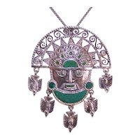 Peru 925 Sterling Silver Chrysocolla Enamel Tribal God Face with Dove Drops Pin Pendant Combination