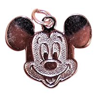 Sterling Silver Disney Charm - Mickey Mouse Flat Disc