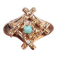 14K Gold Persian Turquoise Charm Bracelet Add a Slide Charm - 1950s Retro Modern Design