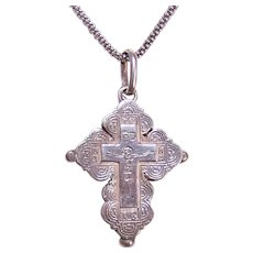 European 800/900 Silver Religious Cross Pendant - Greek Orthodox