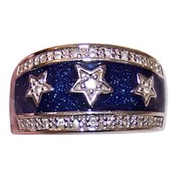 Sterling Silver Enamel Cubic Zirconia CZ Fashion Ring - Stars on Blue Background