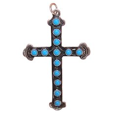 Native American Navajo Sterling Silver Turquoise Religious Cross Pendant