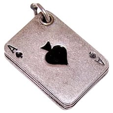 Rhodium Silverplate Enamel Mechanical Charm - 4 Aces Poker Good Luck Charm