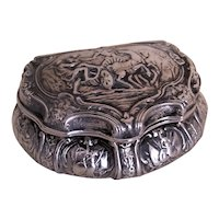 Antique European Continental Repousse Fine Silver Hinged Treasure Box - Ornate Greek Roman Design