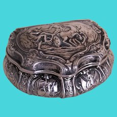 Antique European Continental Repousse Fine Silver Hinged Treasure Box - Ornate Greek Roman Design