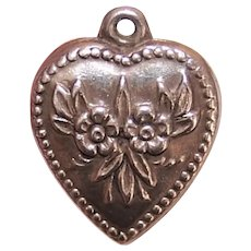 Sterling Silver Puffy Heart Charm - Forget Me Not Florals - No Engraving
