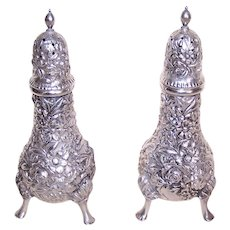 Vintage S Kirk & Son Sterling Silver Repousse Floral Salt & Pepper Shakers - Design 58 - No Mono