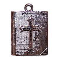 Sterling Silver Religious Charm - Holy Bible with Lords Prayer