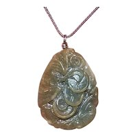 hand Carved Jade Double Sided Pendant - Green and Brown Tones