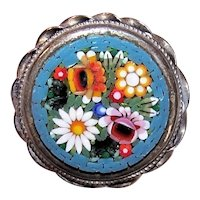 Vintage Made in Italy Micromosaic Glass Tessarae Alpacca Metal Pin Brooch - A Mass of Flowers